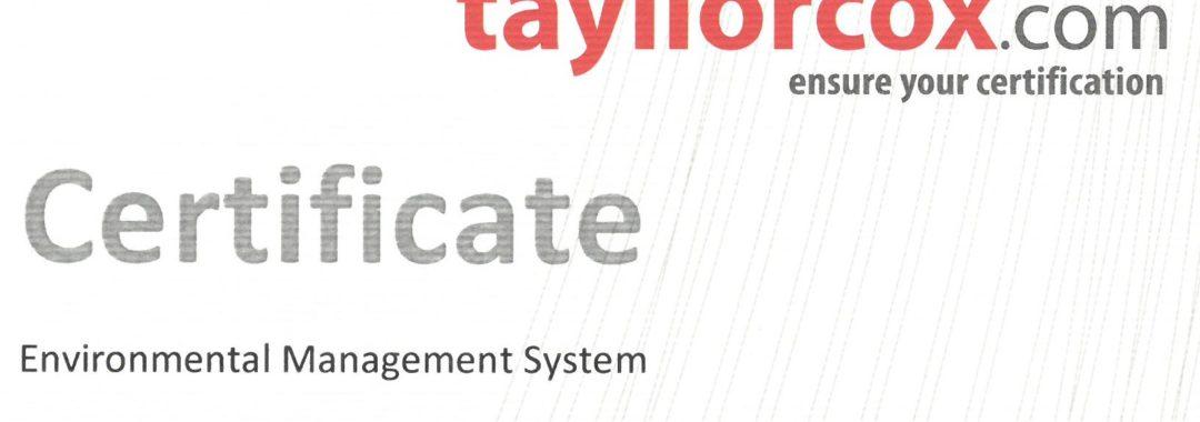 NeVo ISO 14001:2015 certificate